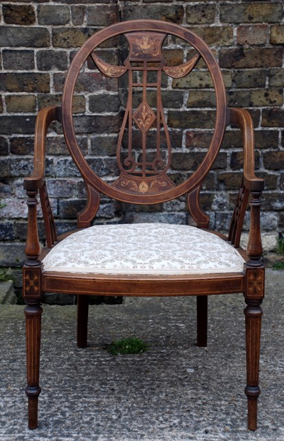 Edwardian Armchair & Antique Windsor Chair